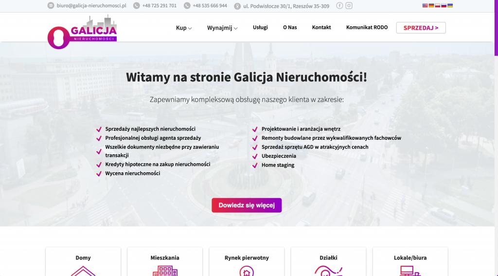 Galicja Nieruchomości strona internetowa