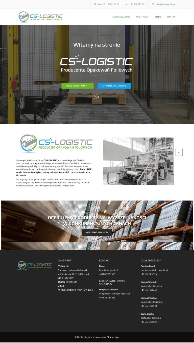 Realizacja DKAmedia dla - CS-LOGISTIC – Produkcja folii Stretch maszynowej, ręcznej oraz mini - www.cs-logistic.pl