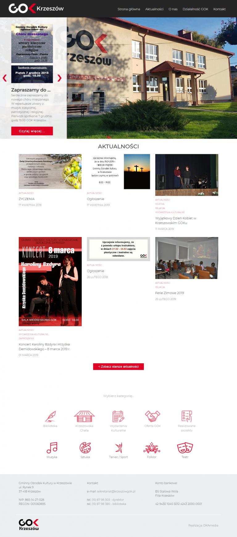Realizacja DKAmedia dla - GOK Krzeszów – Oficjalna strona Gminnego Ośrodka Kultury w Krzeszowie - krzeszowgok.pl