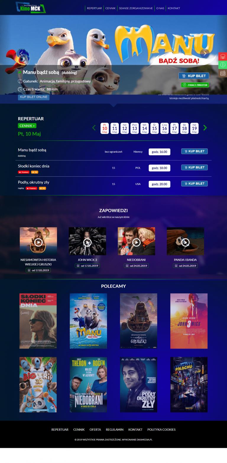 Realizacja firmy DKAmedia dla - Kino Leżajsk - kinolezajsk.pl