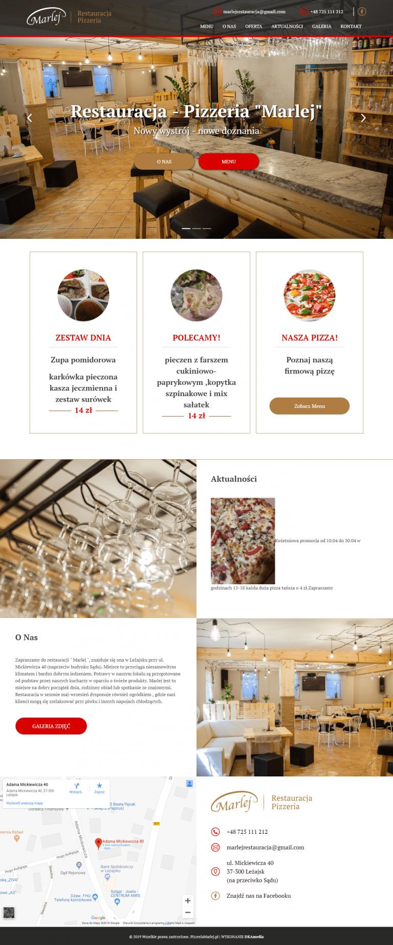 Realizacja DKAmedia dla Pizzeria Marlej - pizzeriamarlej.pl