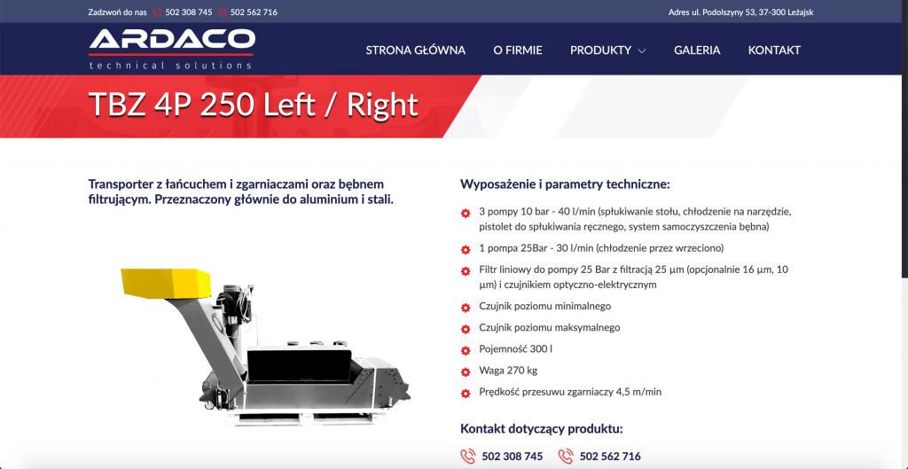 Wizytówkowa strona internetowa prezentacja produktów