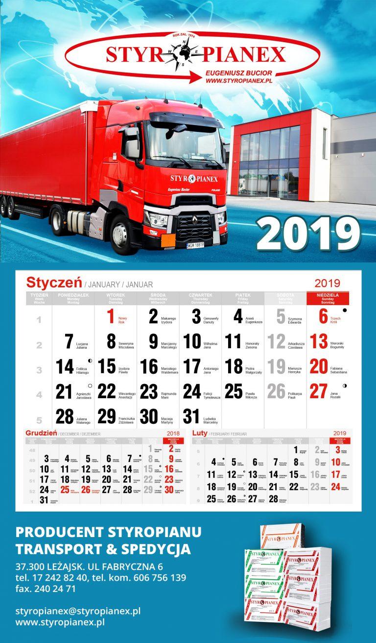Kalendarz - przygotowany dla firmy Styropianex w Leżajsku