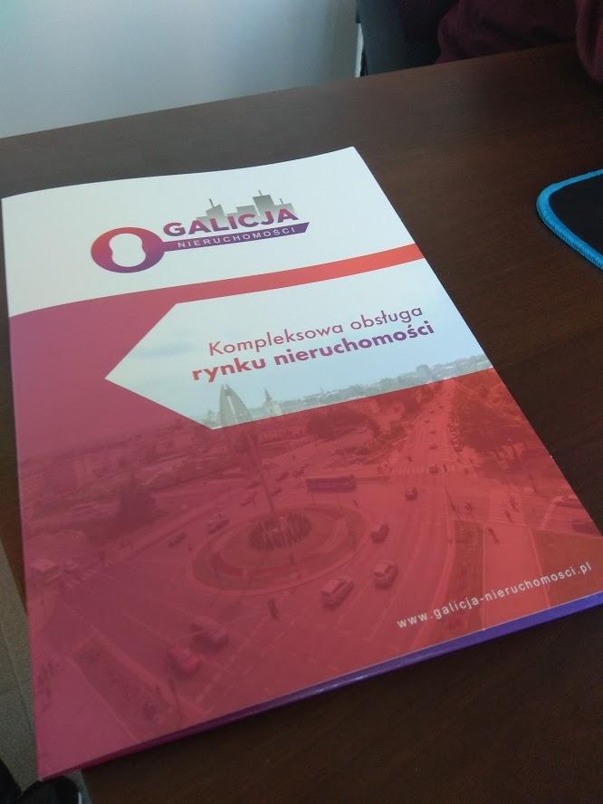 Agencja Reklamowa DKAmedia - Oferta Drukarnia - Teczki Firmowe - projekt oraz wydruk teczki firmowej dla firmy Galicja Nieruchomości z Rzeszowa