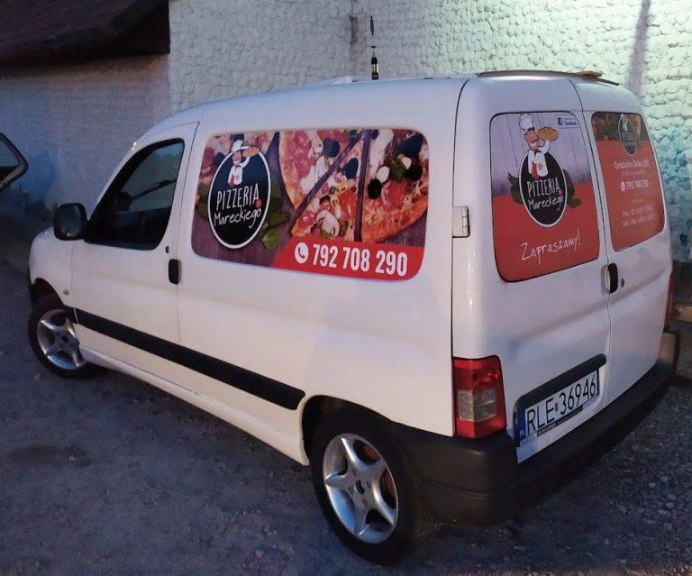 Agencja Reklamowa DKAmedia - Oferta reklama - oklejanie aut - projekt oraz oklejenie auta dla Pizzeria Marecki z Grodziska Dolnego