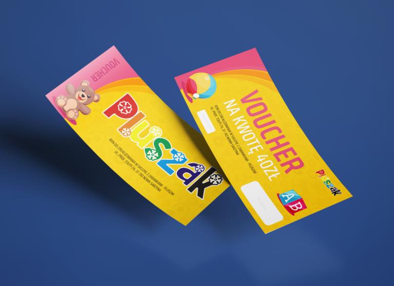 Agencja Reklamowa DKAmedia - Oferta Drukarnia - Ulotki - projekt oraz wydruk voucherów reklamowych dla firmy Sklep Pluszak z Nowej Sarzyny