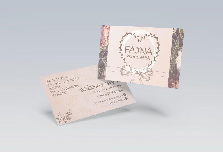 Realizacja projekt oraz druk wizytówek dla firmy Fajna Pracownia z Nowej Sarzyny