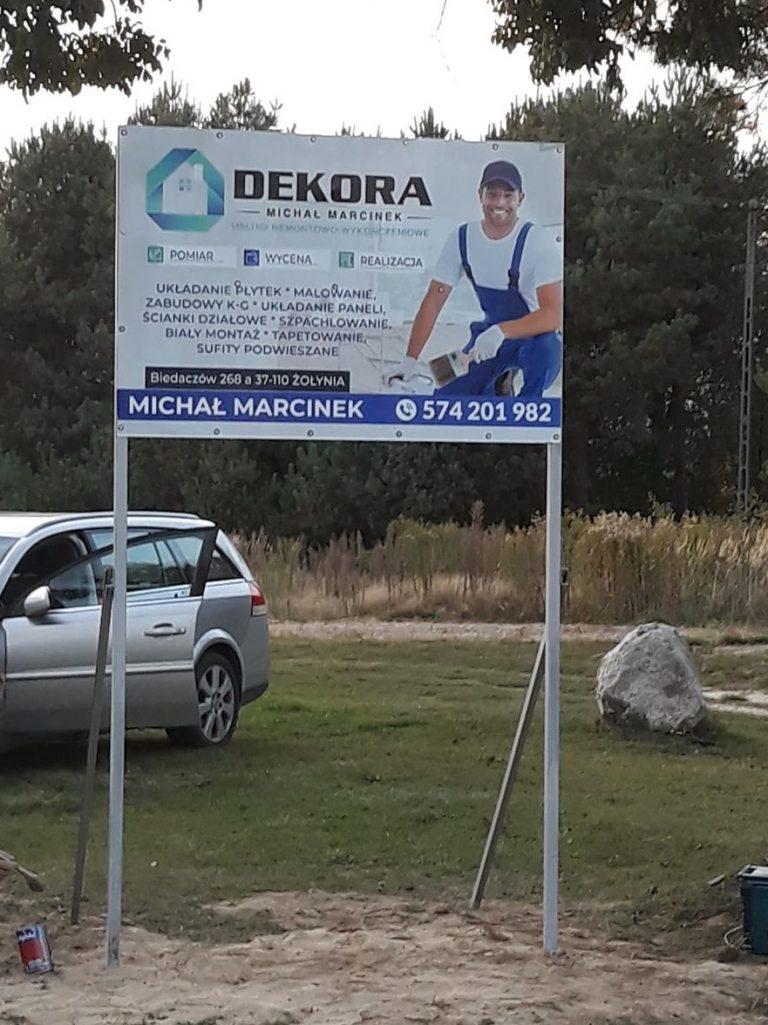 Agencja Reklamowa DKAmedia - Oferta Drukarnia - Tablice zewnętrzne - projekt oraz wydruk tablicy w technologi UV dla Firmy remontowej w Biedaczów