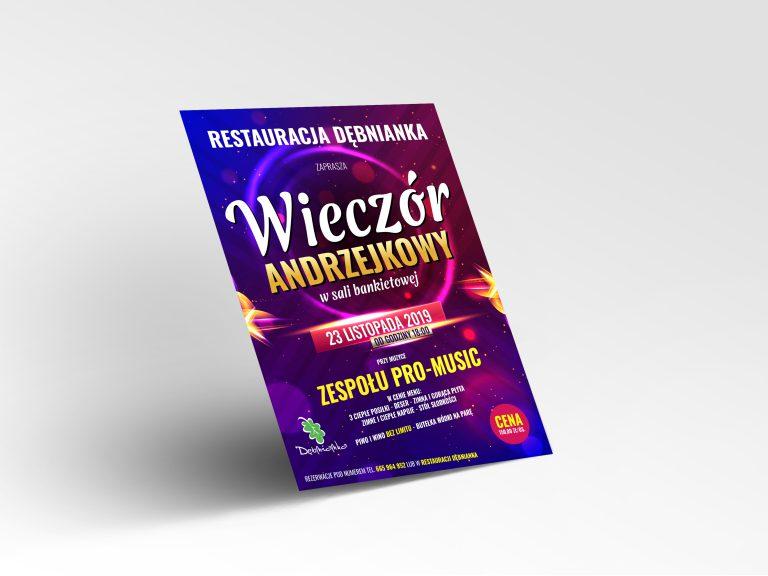 Agencja Reklamowa DKAmedia - Oferta Drukarnia - Projekt plakatu - Realizacja, projekt oraz druk Plakatu - Andrzejki dla Restauracja Dębnianka