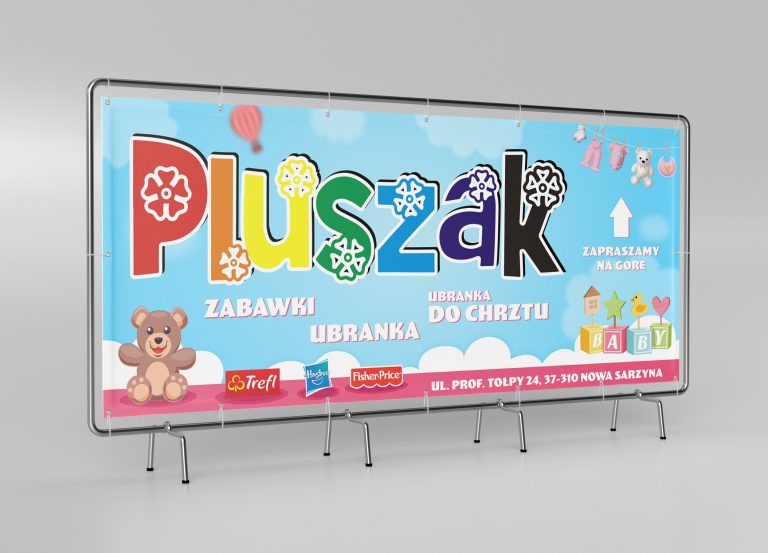 Agencja Reklamowa DKAmedia - Grafika – projekty banerów - projekt oraz wydruk banera reklamowego - Firma Pluszak Nowa Sarzyna
