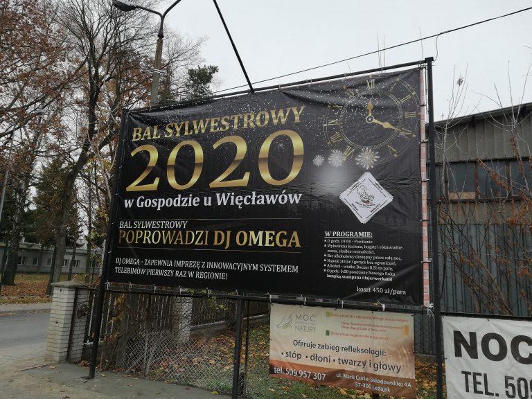 Agencja Reklamowa DKAmedia - Grafika – projekty banerów - projekt oraz wydruk banera reklamowego - sylwester w Gospodzie u Więcławów